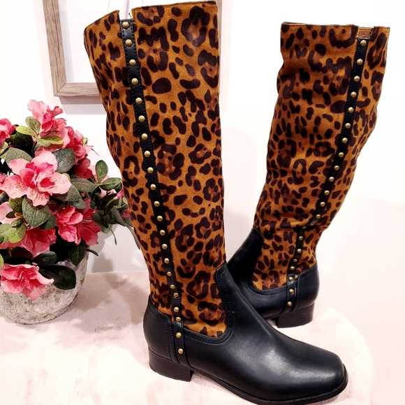 leopard print tall boots